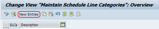 Schedule Line Category new entries