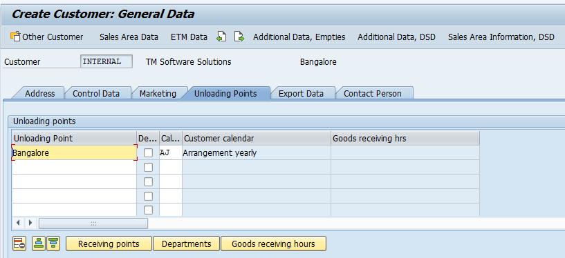 create customer master data unloading
