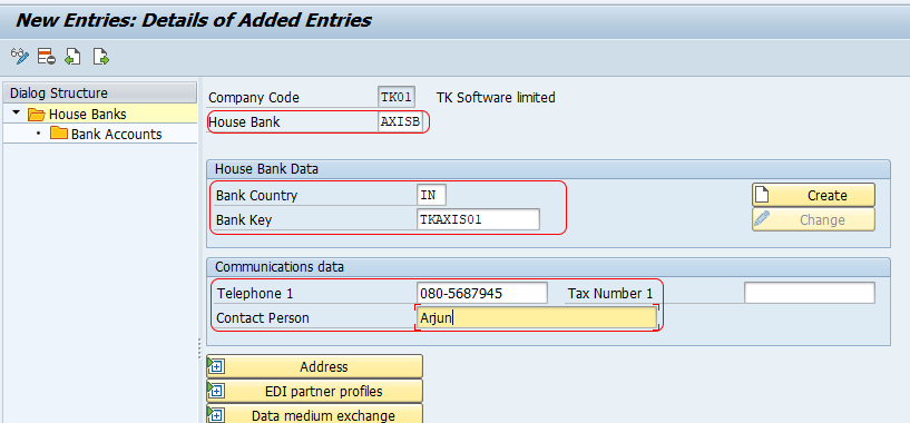 create house bank in sap fico