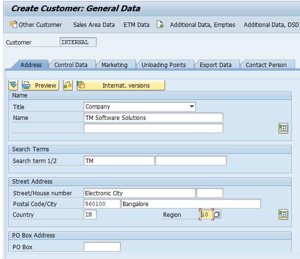 customer master record address details