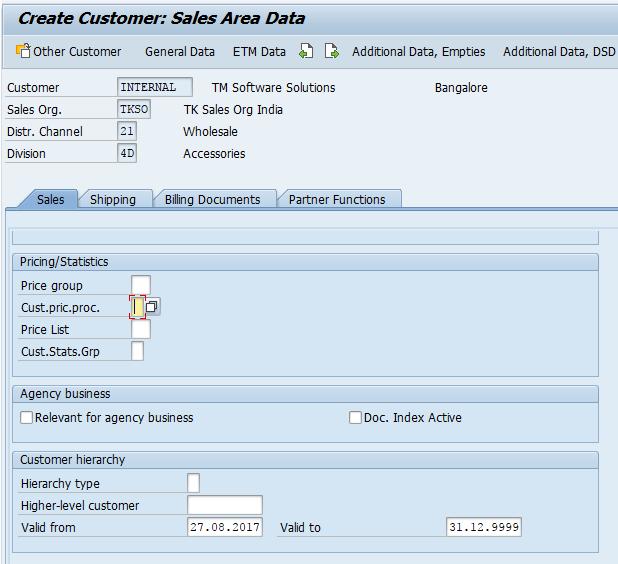 customer sales area data SAP
