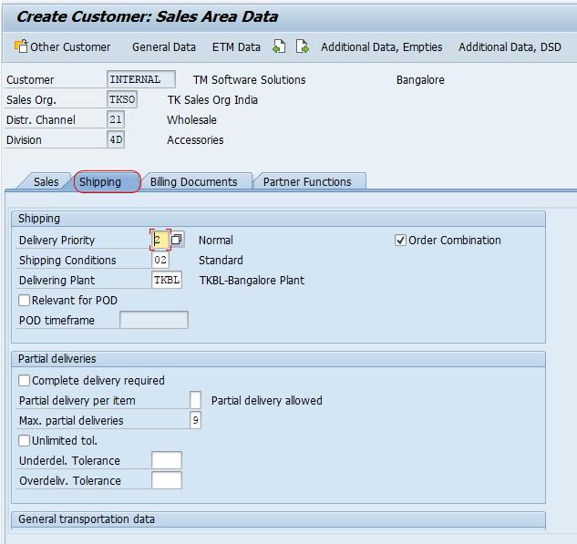 customer sales area data shipping SAP