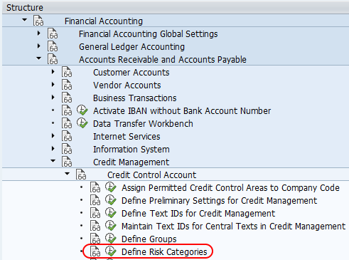 define risk categories SAP menu path