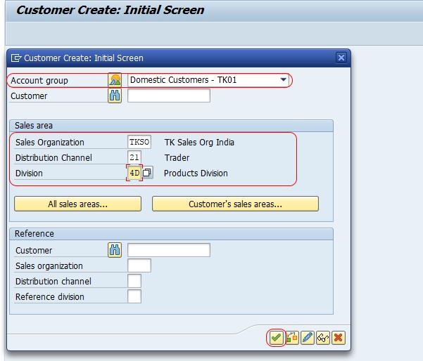 initial screen create customer master data SAP
