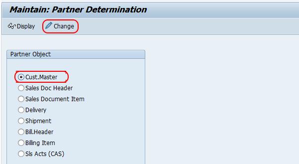 maintain partner determination SAP
