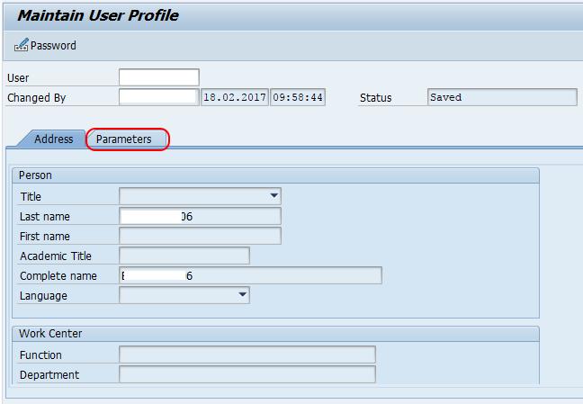 maintain user parameters SAP