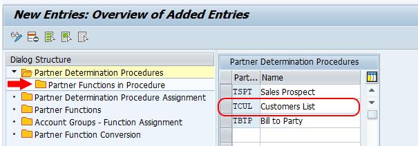 partner function in procedures SAP