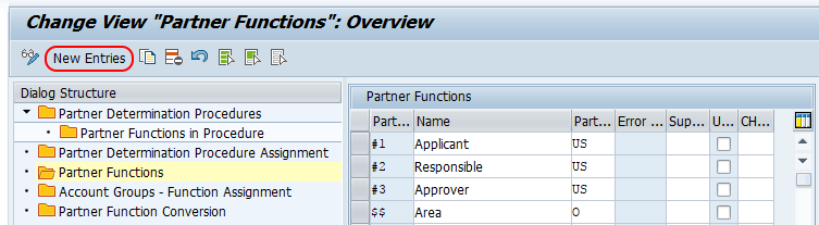 partner functions new entries SAP