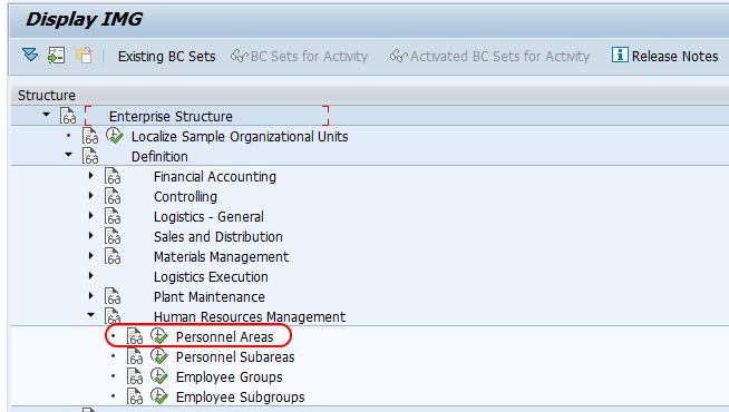 personnel areas SAP menu path