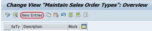 sales document types SAP new entries