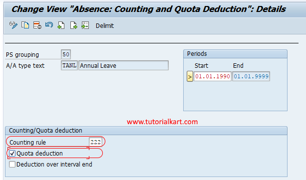 Assign Counting Rules to Absence Types SAP HR