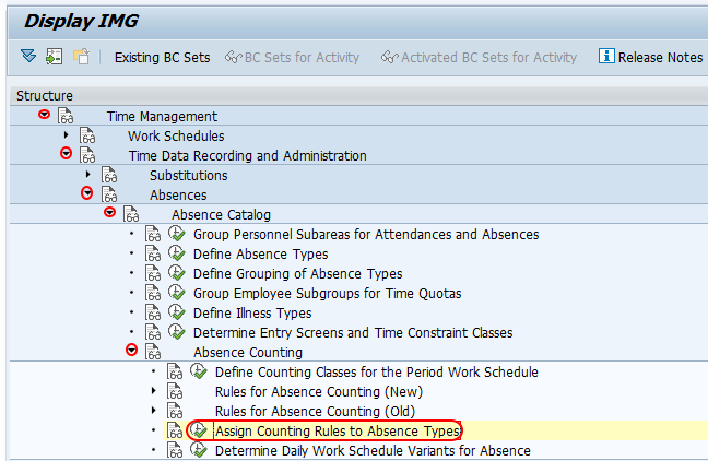 Assign counting rules to absence types