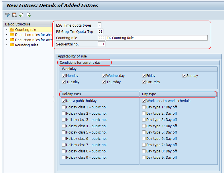 Define Counting Rules in SAP HR