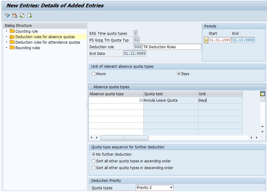 Define Deduction rules for absence quotas SAP