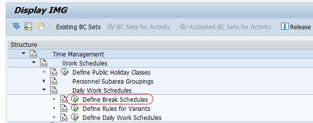 Define break schedules SAP