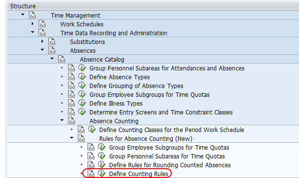 Define counting rules SAP