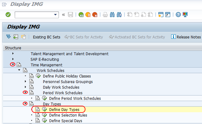 SAP HR - Define Day Types, Special days, Selection rules