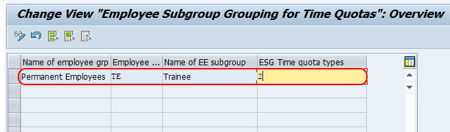 Group Employee Subgroup for Time Quotas in SAP HR