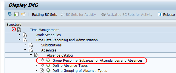 Group Personnel Subareas for Attendances and Absences SAP