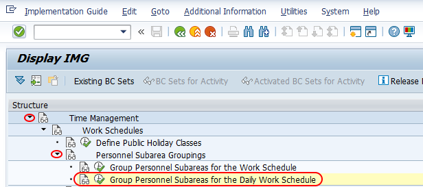 Group Personnel Subareas for work schedules SAP