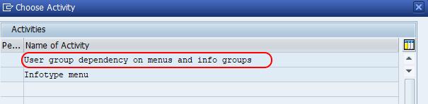 Info type menu activities SAP