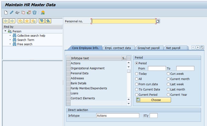 Infotype menu - hr master data SAP
