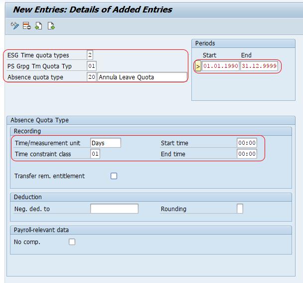 SAP HR - Define Absence Quota Types