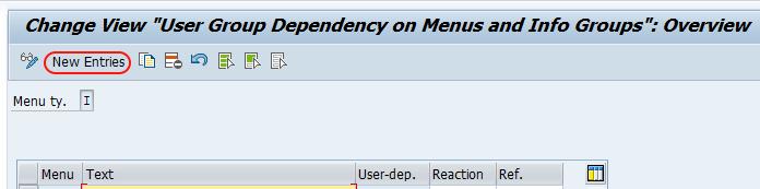 SAP user group dependency on menus