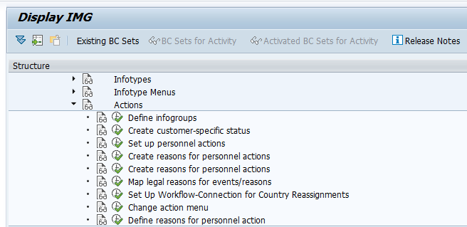 What are actions in SAP HR