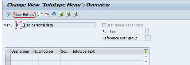 create infotype menu in SAP