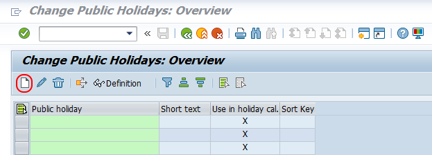 create public holidays in SAP