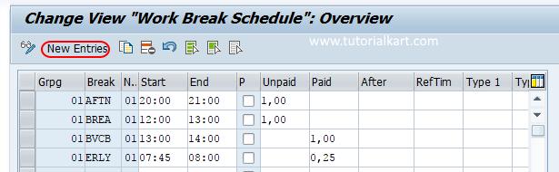 create work break schedules in SAP