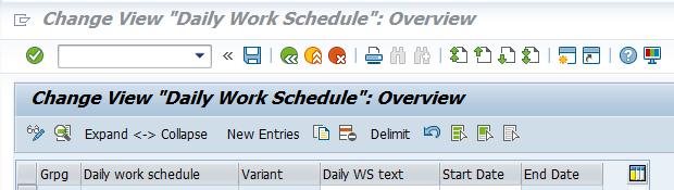 daily work schedule SAP