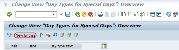 day types for special days SAP