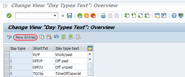 day types in SAP new entries