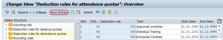 deduction rules for attendance quotas SAP