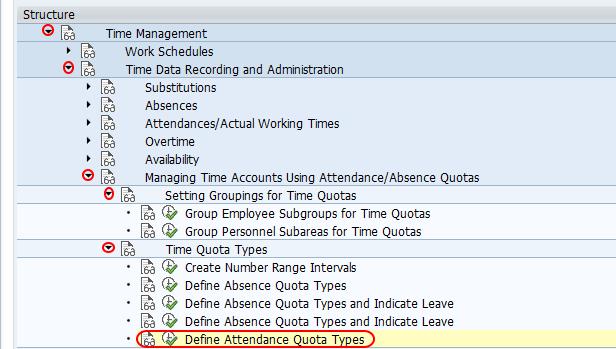 define attendance quota types SAP
