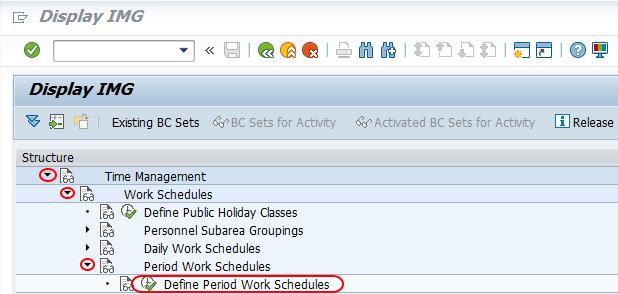 define period work schedules SAP path
