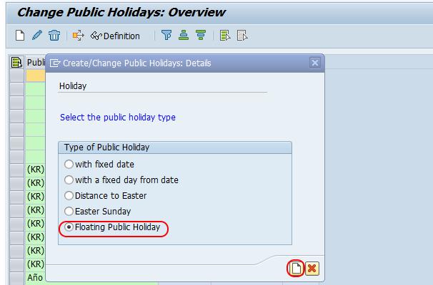 floating public holiday create SAP