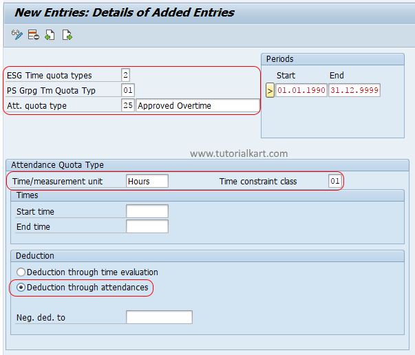 how to create Attendance Quota Types in SAP