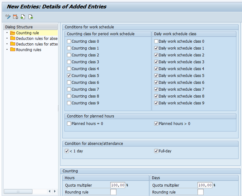 how to define counting rule SAP