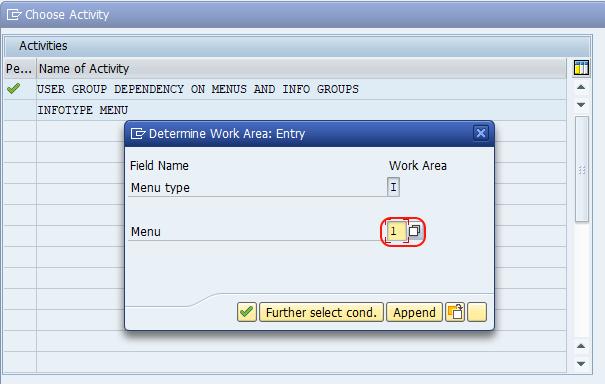 infotype menu work area