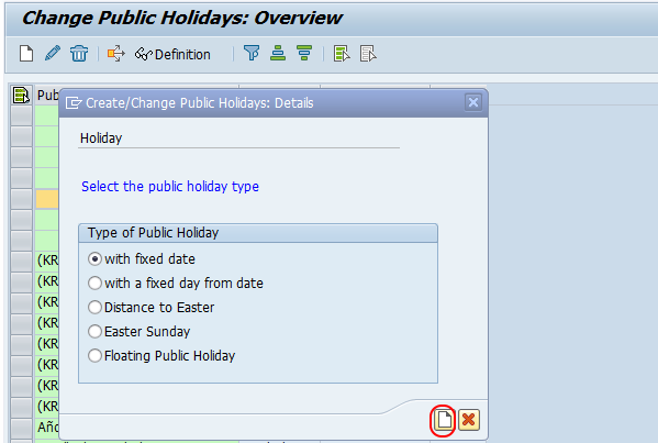 public holiday with fixed date SAP