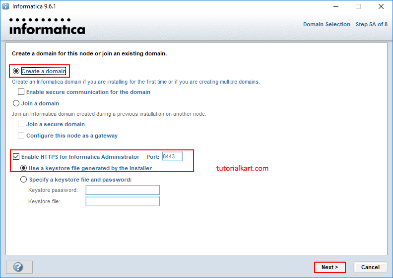 How to create Informatica domain