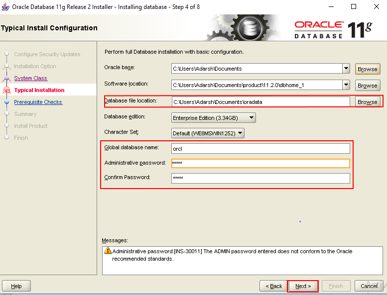 Oracle Database installation for Informatica
