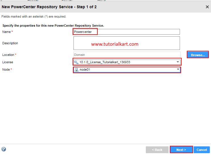Creating Informatica PowerCenter Repository Service