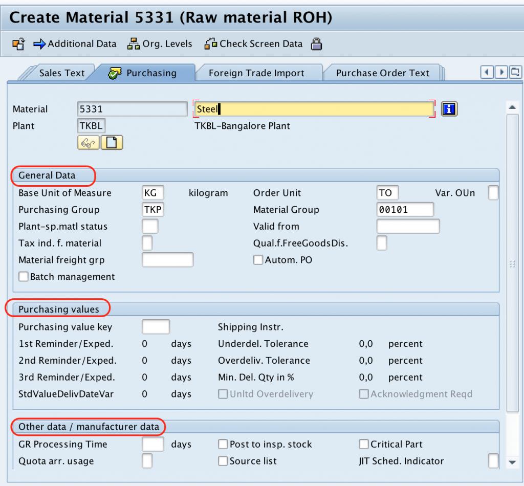 Material Master Record - purchasing SAP