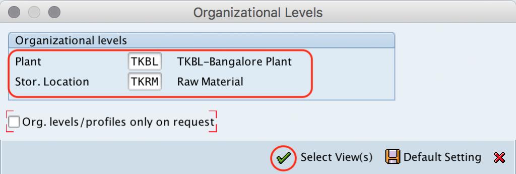 Organization levels Material master SAP