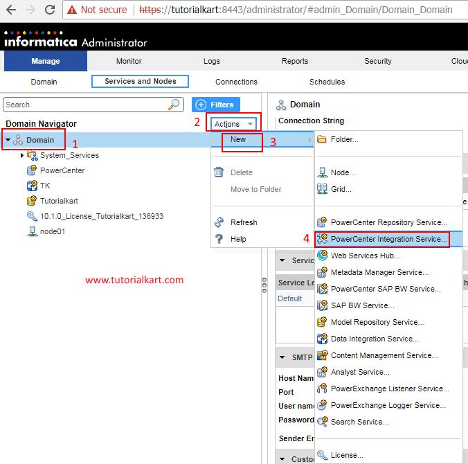 Creating PowerCenter Integration Service in Informatica 10.1.0