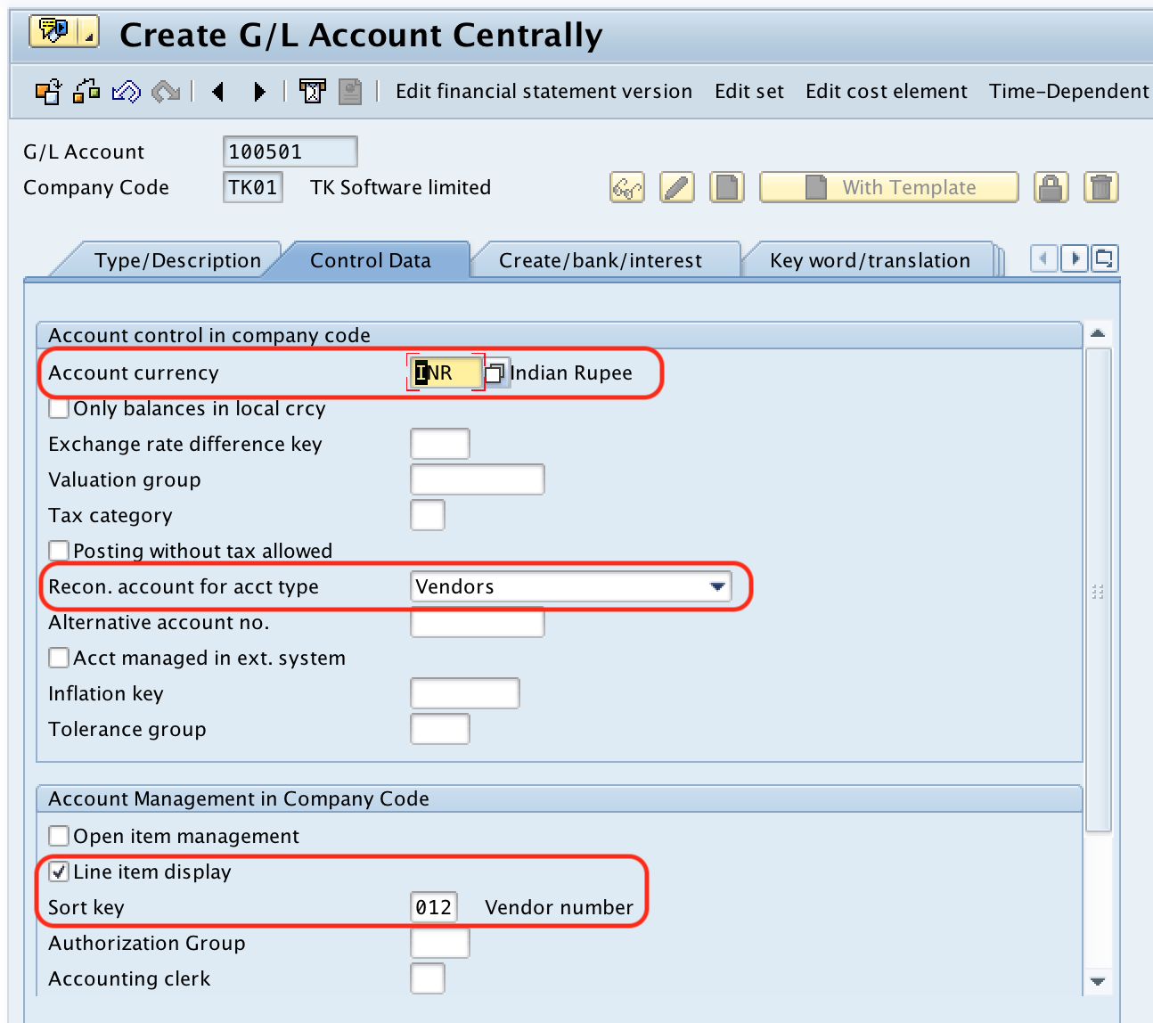 SAP Vendor Reconciliation Account - control data